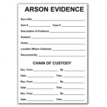 Arson Evidence Labels