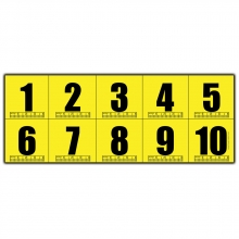 1-10 Yellow Adhesive Numbers - 20 sets